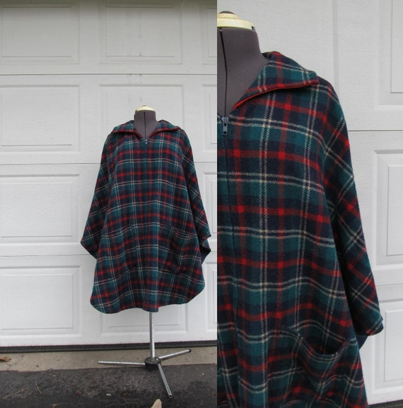 Vintage plaid wool cape, red, green, blue, Christm