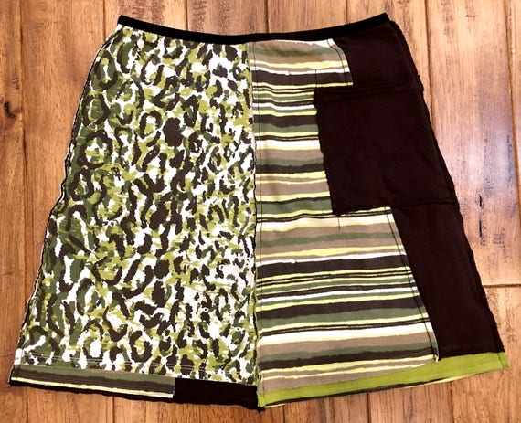 M Upcycled Recycled Reconstructed Tshirt Skirt Womens Hudson Cycles Motorcycle Print Clothing Ecofriendly Mojowear