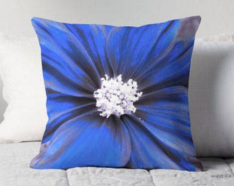 Blue Flower Pillow, Flower Toss Pillow, Blue Flower Cushion, Blue Flower Toss Pillow, Flower Pillow Case, Blue Flower Bedding, Blue Decor