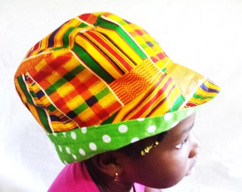 African Fabric Ankara Kente Reversible Kids Bucket Sun Hat 2a447f45a1f