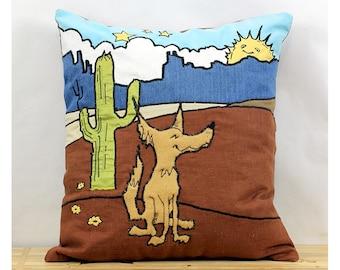 Coyote Carl Appliqued Pillow