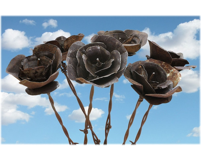 Barb Wire Love Desert Flowers - Bouquet of 6 - READY TO SHIP