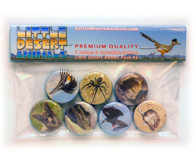 Little Desert Button Or Magnet Pack #1 - Seven (1 inch / 2.54 cm) Buttons Or Magnets