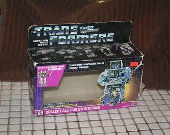 Vintage 1986 Hasbro G1 Stunticon Motormaster BOX ONLY!  Nice Display / Includes Tech Specs!  Nice Window!!