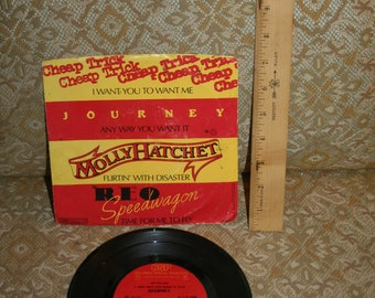 Vintage 1970s Nestle 100,000 Bar Promo Record w/ REO Speedwagon, Molly Hatchet, Cheap Trick, and Journey!  Four Bands / One Record!!
