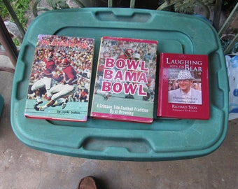 """Two Vintage University ROLL TIDE of Alabama Books!  """"Bowl, Bama, Bowl"""" & """"the crimson tide""""!  Includes FREE """"Laughing with the Bear"""" Book!!"""