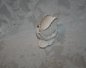 Vintage  1960s? Ucagco Fingers and Hand Holding Shell Vase!  Delicate White Trimmed in Gold!