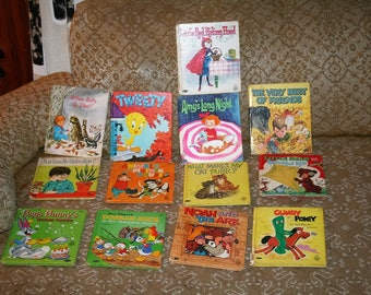 Save Now!!  Vintage 1960s Lot of 12 Whitman TELL-A-TALE Books!  Colorful Illustrations / Fun Vintage Stories!