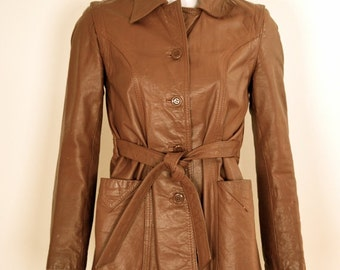 ON SALE 70s Leather Jacket Women Vintage Belted Brown Trench VTG 1970s Genuine T