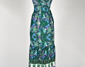 ON SALE Vintage 70s Indian Block Printed Floral Summerly Maxi Dress