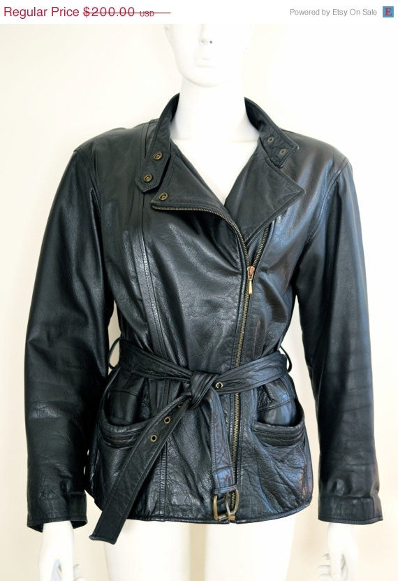 ON SALE Vintage Leather Biker Jacket: 90s Leather