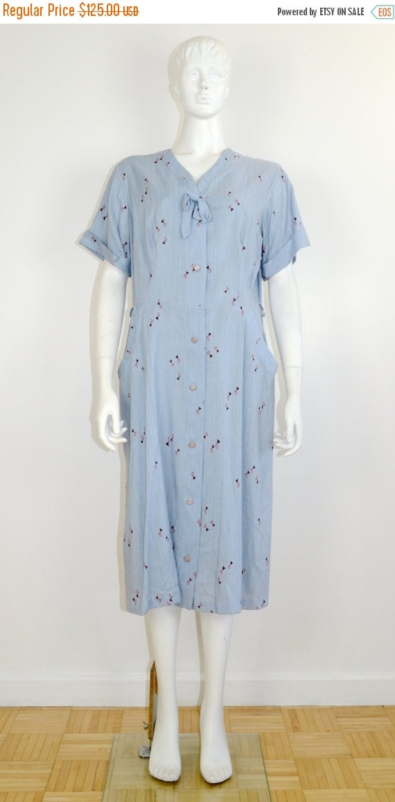 ON SALE 1950s Day Dress: 50s Day Dress / 50s Shirt