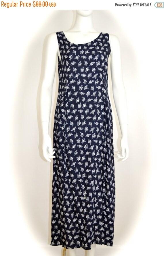 ON SALE 90s grunge dress: long floral grunge / dit