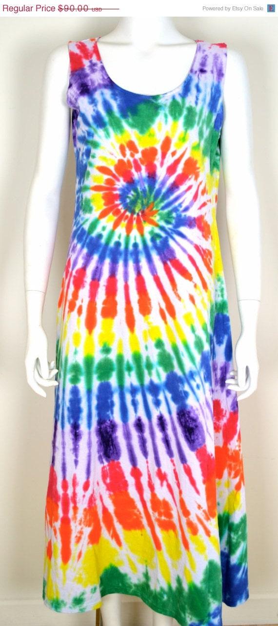 ON SALE Tie Dye Dress: Maxi Tie Dye Dress / Hippie