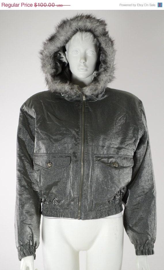 ON SALE BOMBER Jacket: Hooded Bomber Jacket / Puff