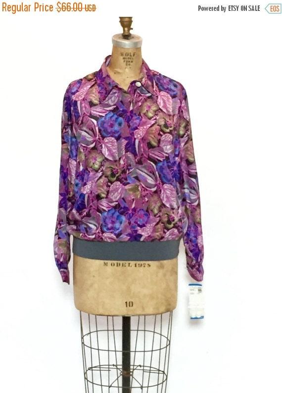 ON SALE 80s Floral Bomber Jacket: Silk Scarf Jacke