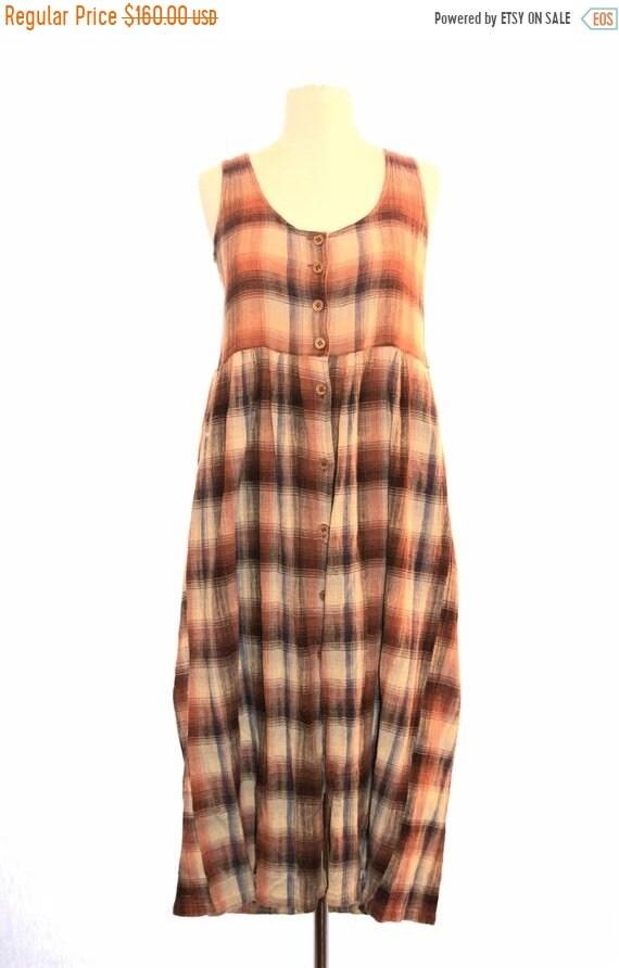 ON SALE 90s grunge plaid dress vintage 1990s grung