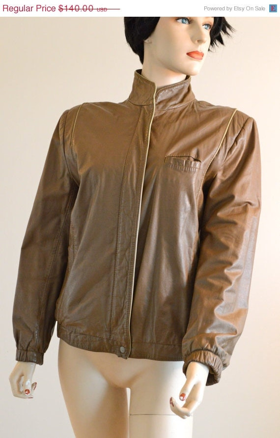 28555d89a874 ON SALE 80s LEATHER Jacket  80s Vintage Leather   Slim Fit