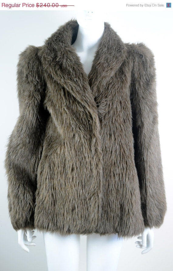 ON SALE FAUX Fur Coat: Vintage Faux Fur Coat / Veg