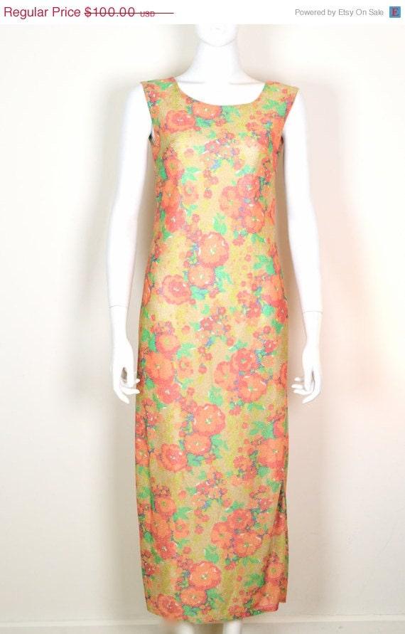 ON SALE 60s Mod Long Dress / 60s Mod Dresses / Flo