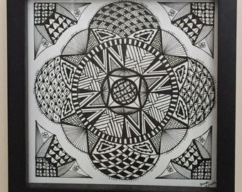 Circles - Original Zentangle Type Framed Drawing