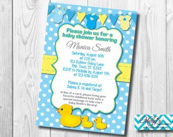 Rubber Ducky Baby Shower Invitation (Boy)