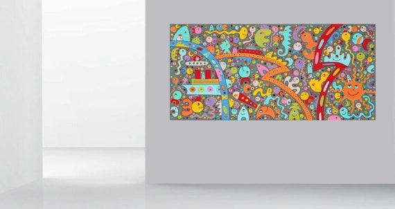 Gemalde Abstrakt Art Painting Acryl Bilder Leinwand Modern Etsy