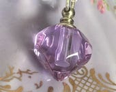 Crystal perfume bottle charm necklace sterling silver pendant mauve purple