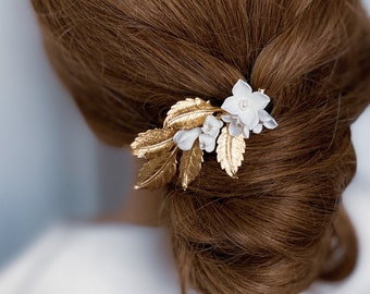 GINGER Hair Comb, Gold hair comb, Bridal headpieces, Wedding Accessories, bridal hair style, hair jewelry, floral headpiece, flower comb