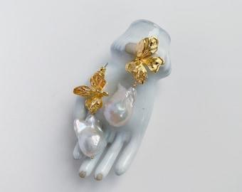 JAYNE Earrings, Flower Earrings, Pearl Earrings, Drop Earrings, bridal Earrings, Petal Earrings, Bridal Earrings, Wedding Earrings