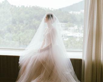 CAMILLA Wedding Veil, Bridal Accessories, Simple Veil, Veil with blusher, Chapel Veil, Long Veil, Bridal Veil,