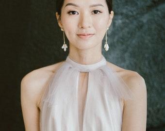 Pearl Earrings, Chandelier Earrings, earrings gold, Drop earrings, Freshwater Pearl, Pearl Earrings, Bridal Jewelry Gold MEGAN