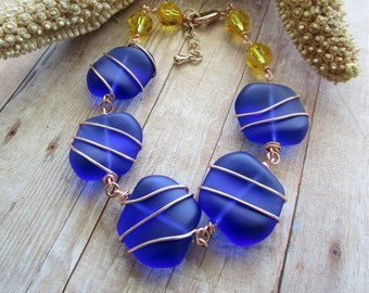 Tumbled Cobalt Sea Glass Bracelet, Wire Wrapped, Yellow Swarovski Crystals, Rose Gold, Beach, Ocean