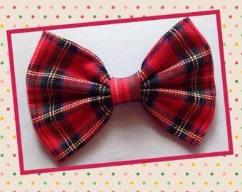 Handmade red Tartan hair bow
