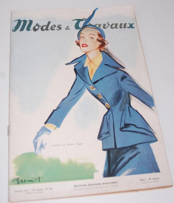 Revista de moda vintage francés patrones de la década de 1950 | Etsy