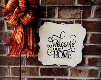 WELCOME GARDEN FLAG |  Welcome Sign | Garden Flags | Garden Signs | Home Decor | Mailbox Signs | Welcome to Our Home