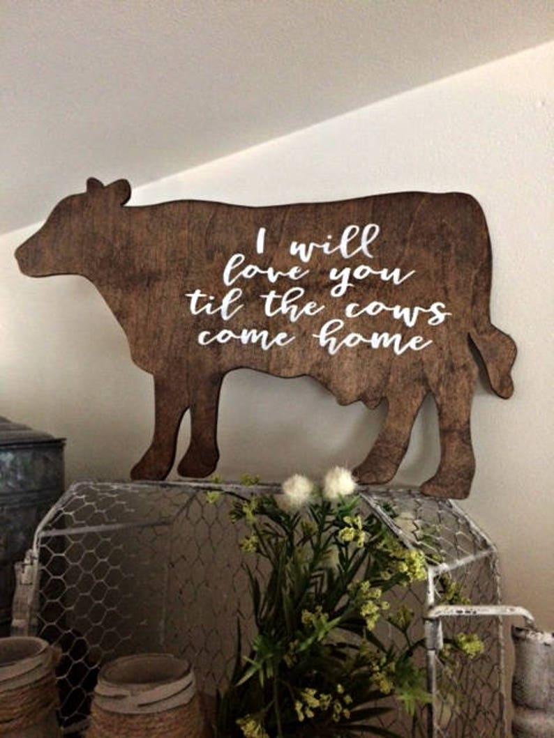 Cow Sign Farmhouse Sign Kitchen Decor Home Decor Etsy