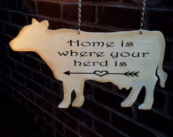 COW GARDEN FLAG | Farmhouse Decor | Home Is Where | Rustic Garden Flag | Mailbox Signs