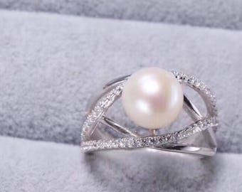 Sterling silver natural white freshwater pearl ring - unique modern silver pearl ring- engagement pearl ring