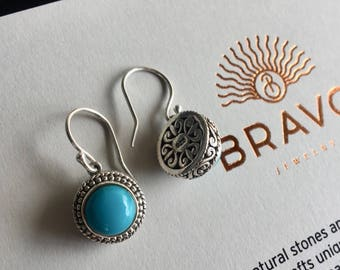 Sterling silver dainty blue turquoise dangle earrings- blue gemstone earrings- holiday earrings- Mothers day gift