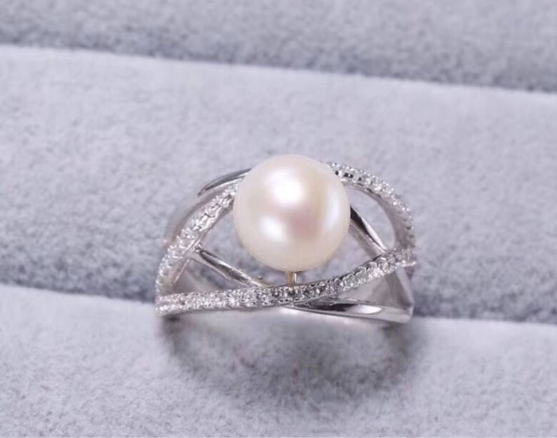 engagement pearl ring unique modern silver pearl ring Sterling silver natural white freshwater pearl ring