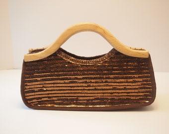 0775ddcb205 Aldo Brown Sequin Purse Handbag with Wood Handle