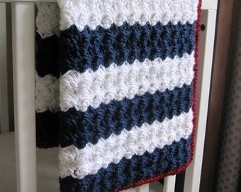 Chunky Nautical/ Preppy/ Americana Reversible Baby Blanket