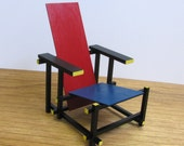 RED and BLUE CHAIR,1/6 Scale Handmade Replica,Miniature Famous Furniture ,Art Design,Destijl,Collectable Modernism,Rode & Blauwe Stoel