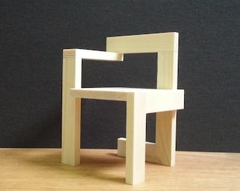 Steltman Chair,1:6 Scale,HAND MADE,Collectable Miniature Furniture Model,Replica,Modern Art, 30's Design ,Solid Wood,Steltman-stoel