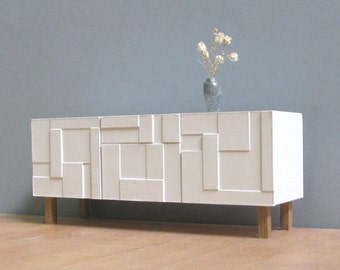 DOLLHOUSE White Sideboard / Credenza, 1/18_1/12  Scale, HANDMADE Collectable Miniature Furniture, Modern Style Decor, Contemporary Design