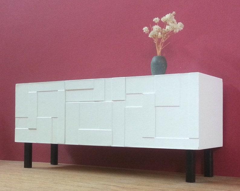 1//12 Dollhouse Miniature Furniture Wooden 4 Pane Drawer Sideboard Cabinet Model