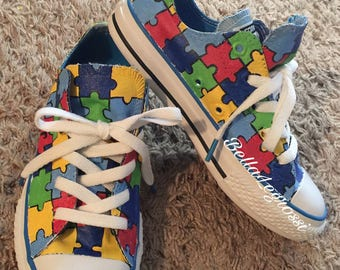 18968a990419d5 Hand Painted Autism Awareness Sneakers