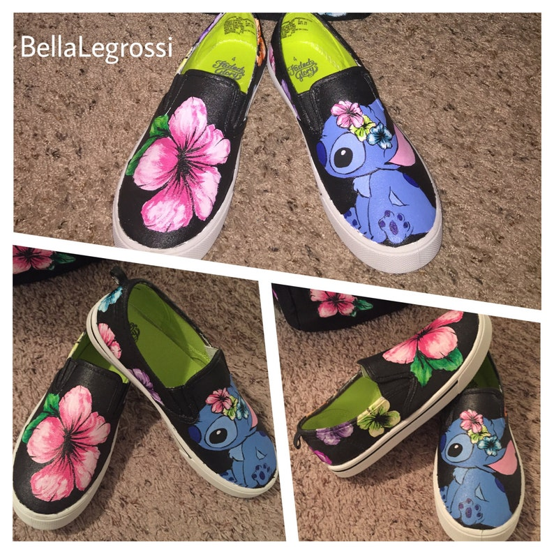 41abb3e4dfdfa Hand painted Stitch Hibiscus sneakers