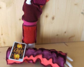 Cerise, pink and fruity,  hand/wristwarmers, fingerless texting gloves in soft, cosy, reclaimed natural Scottish woollen fabrics.